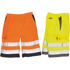 Hi-Viz Polycotton Work Shorts With Reflective Banding & Contrast
