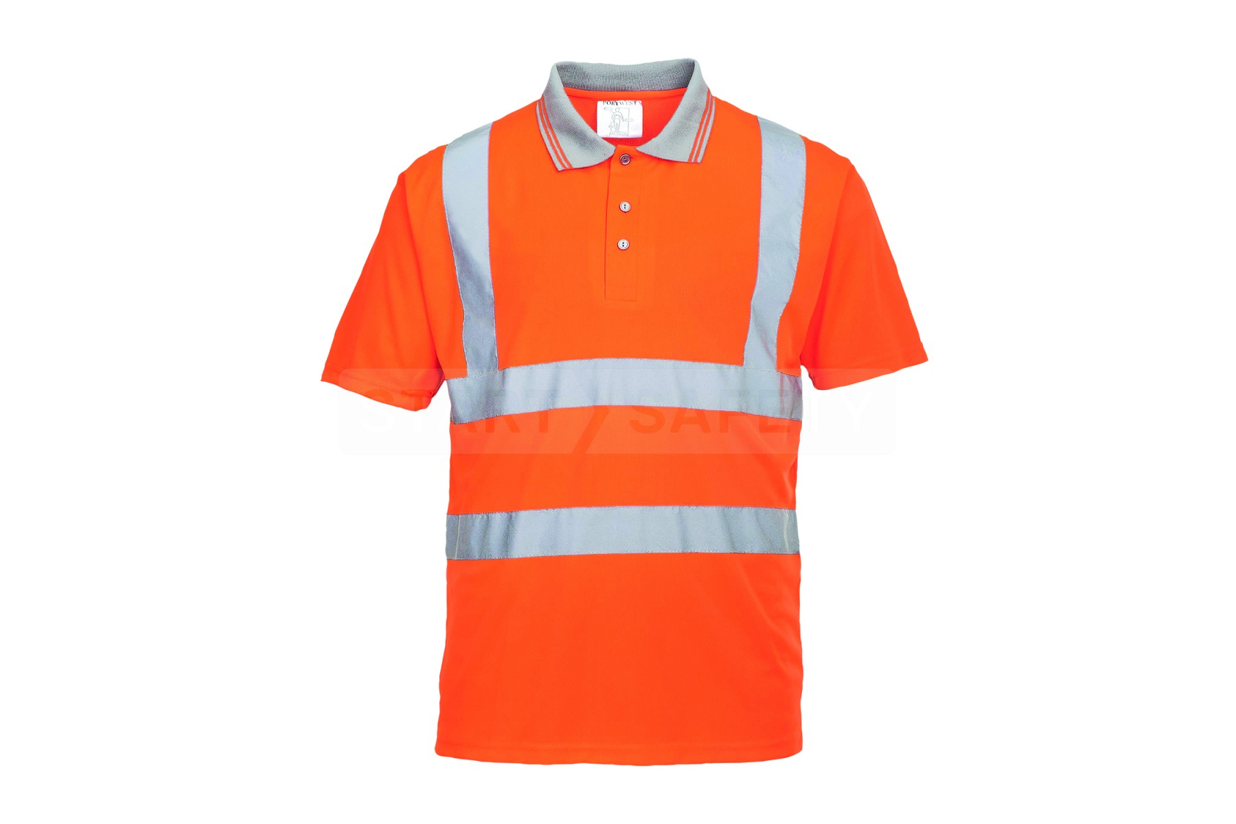 Hi Viz Orange Work Polo Shirt With Silver Tapes Ansi 2