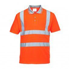 Hi-Viz Work Polo Shirt, Orange With Silver Banding