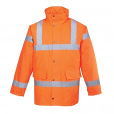 Padded Quilt Lined Orange Traffic Jacket High Visibility Class 3