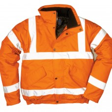 Quilt Lined Padded Orange Bomber Jacket - Class 3 High Visibility