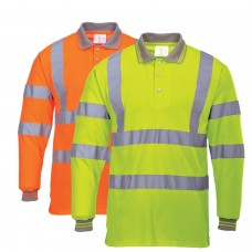Hi-Viz Long Sleeved Work Polo Shirt With Silver Banding