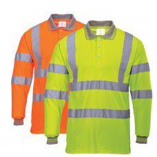 Hi-Viz Long Sleeved Work Polo Shirt With Silver Banding
