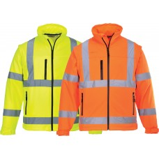 Softshell Three Layer Hi-Vis Jacket Water & Wind Resistant