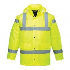 Padded Quilt Lined Yellow Traffic Jacket High Visibility Class 3