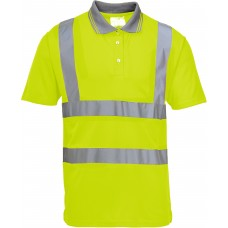 Hi-Viz Work Polo Shirt, Yellow With Silver Banding