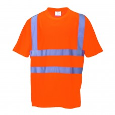 Hi-Viz Work T-Shirt Orange With Silver Banding