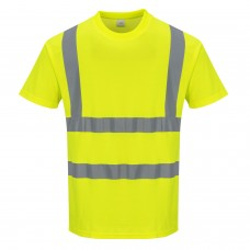 Hi-Viz Cotton Comfort Work T-Shirt Yellow With Silver Banding
