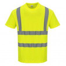 Hi-Viz Cotton Comfort Work T-Shirt Yellow With Silver Banding