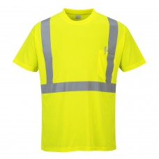 Hi-Viz Work T-Shirt With Pocket, Yellow With Silver Banding