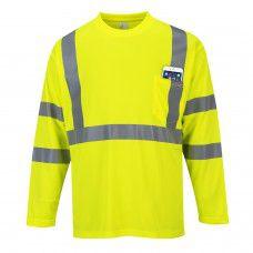 Hi-Viz Work T-Shirt & Long Sleeve With Pockets