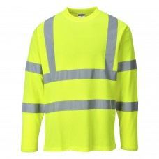 Hi-Viz Cotton Long Sleeved Work T-Shirt Yellow With Silver Banding