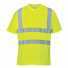 Hi-Viz Work T-Shirt Yellow With Silver Banding