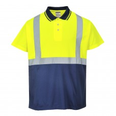 Hi-Viz Contrast Work Polo Shirt With Silver Banding