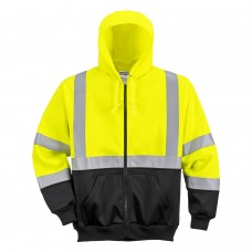 Hi-Viz Yellow Zipped Hoodie With Contrast