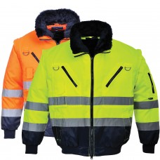Pilot Jacket High Visibility with Contrast 3 in 1 Durable ANSI Class 3