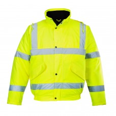Quilt Lined Padded  Bomber Jacket - High Visibility  Class 3