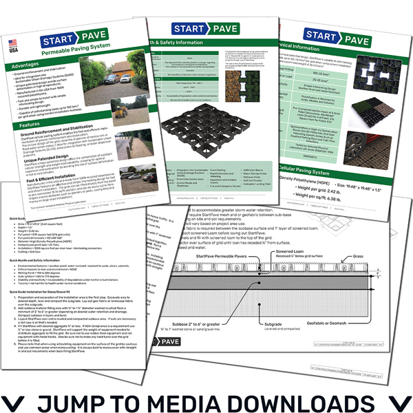 Link to Downloads section where you can read StartPave brochures and install guides on permeable pavers
