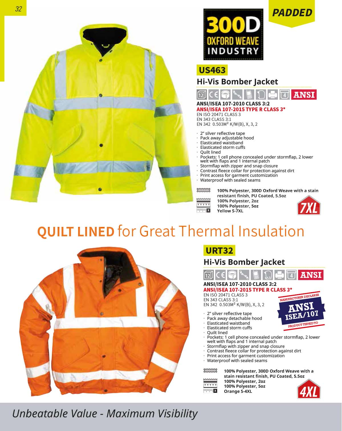 URT32 Orange High Vis Bomber Jacket