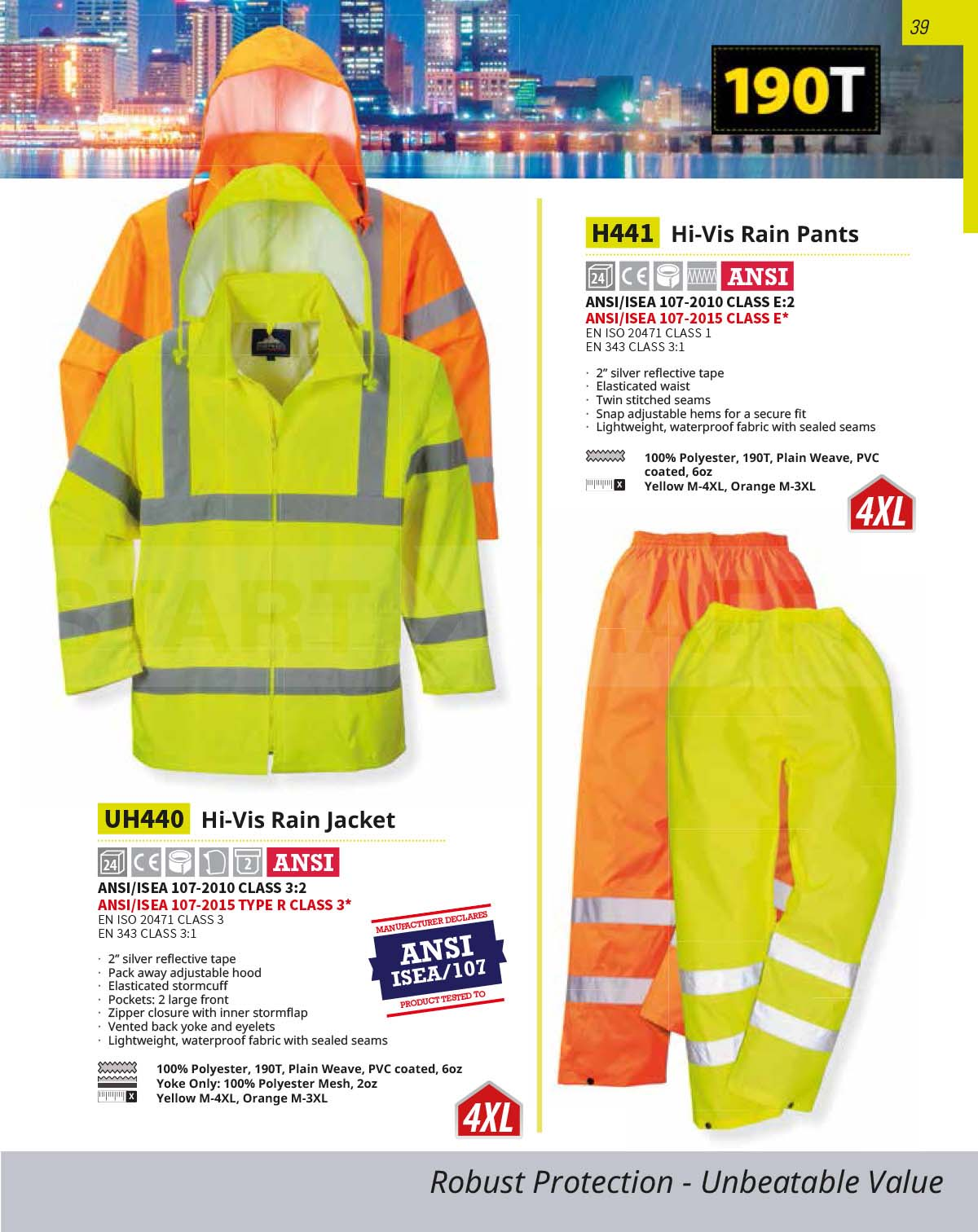 UH441 Hi Vis value Rain Pants