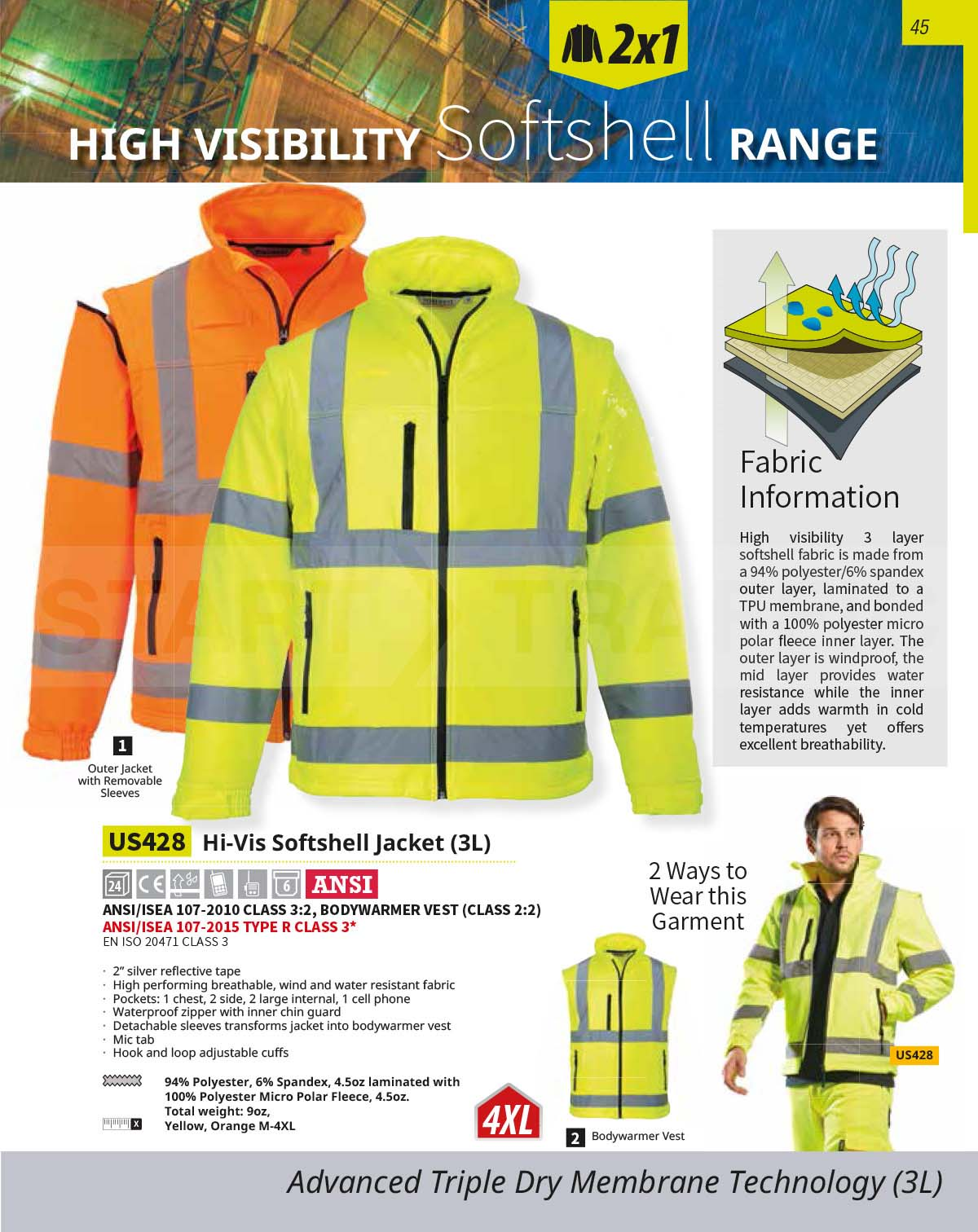 US428 High Vis Softshell Jacket