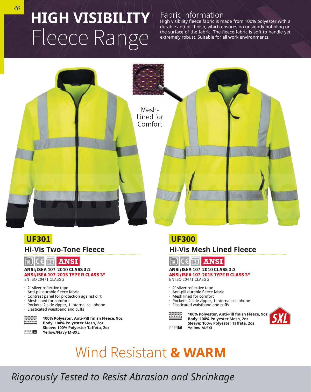 UF301 Two-Tone High Visibility Fleece Without Contrast
