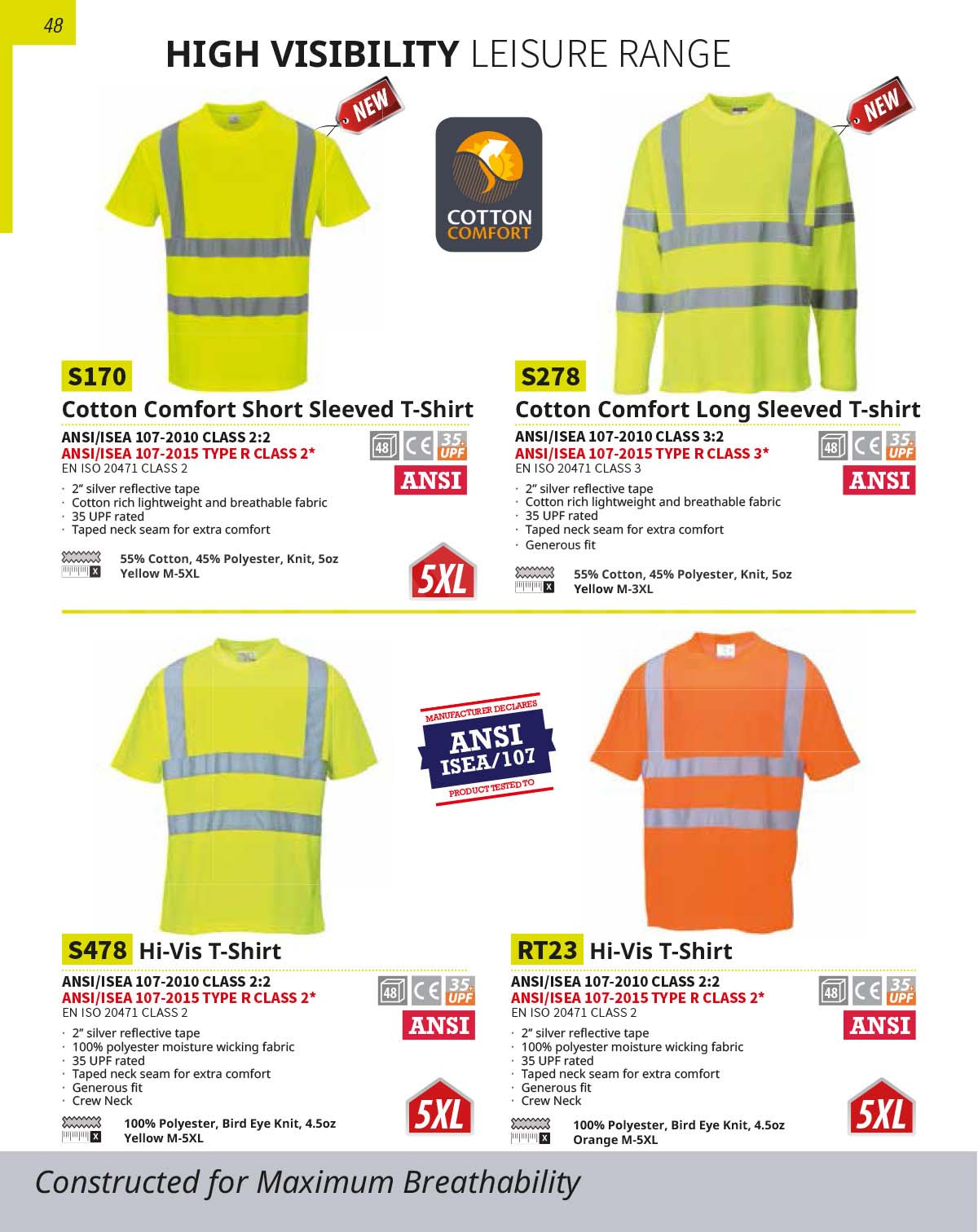 RT23 Orange High Viz Short Sleeve Work T Shirt