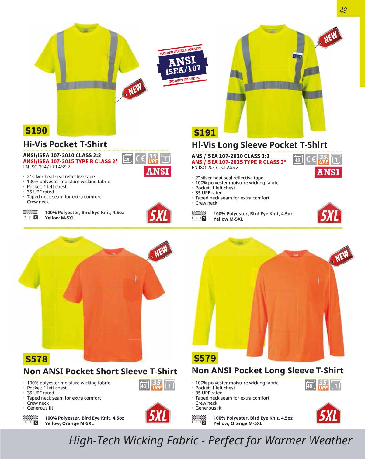 S191 High Viz Long Sleeve Work T Shirt With Pocket