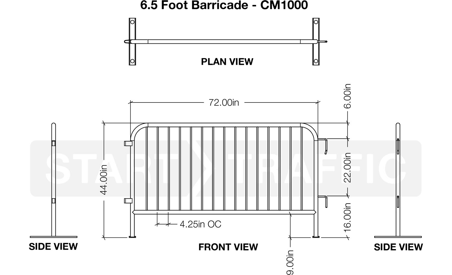 6.5 Foot Metal Barrier Dimensions