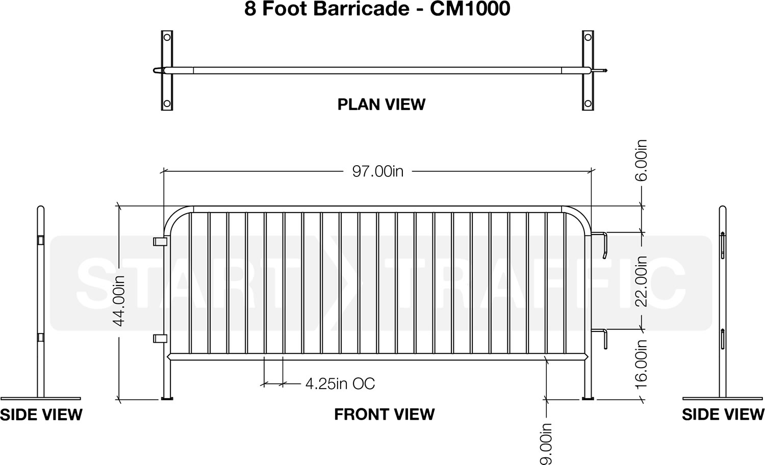 8 Foot Metal Barrier Dimensions