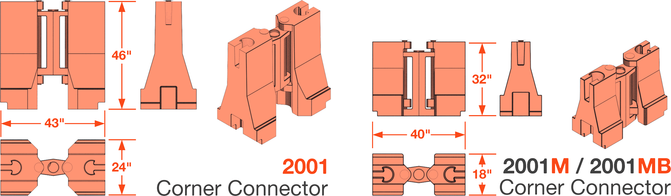 Yodock Corner Connector Dimensions
