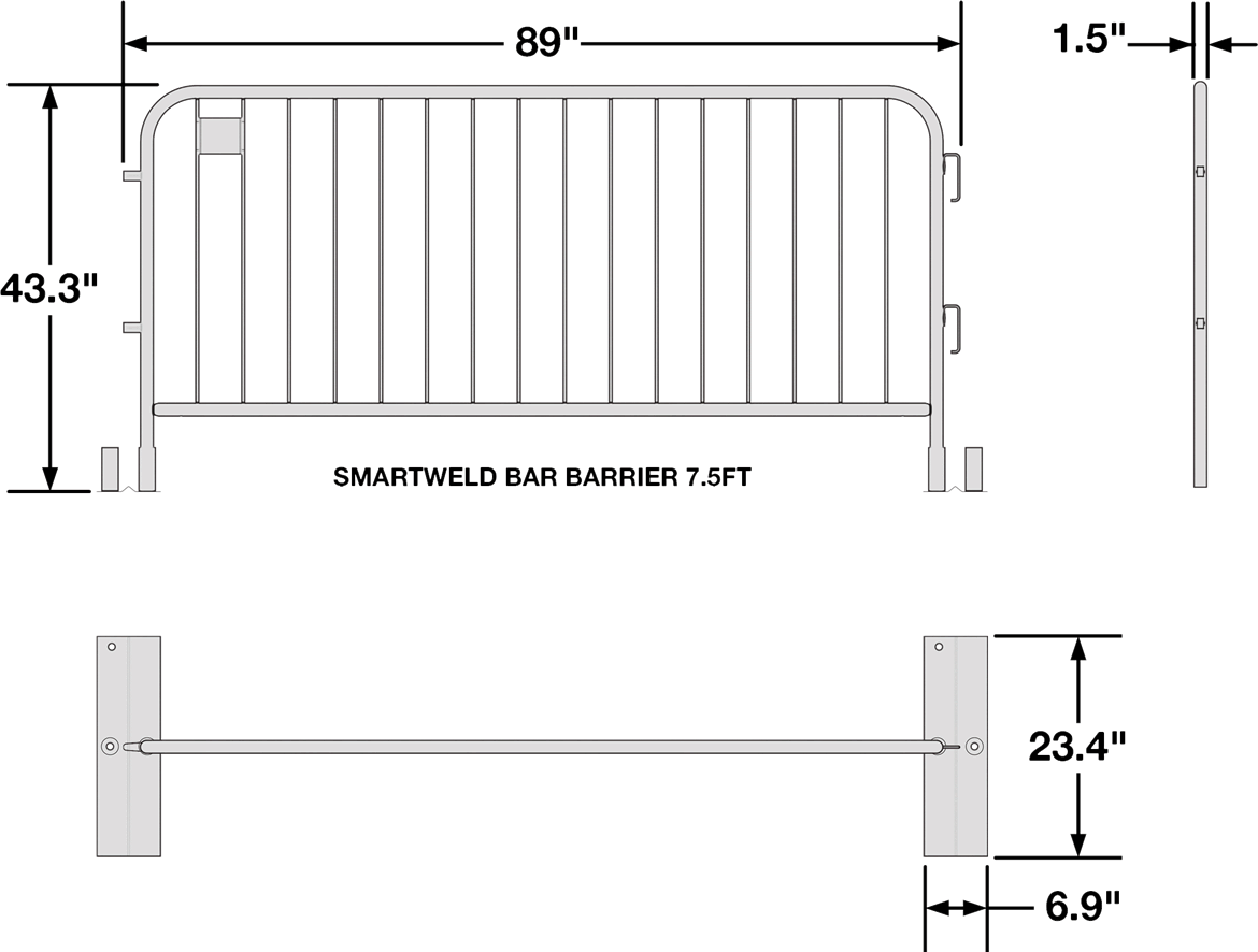 Anti-Trip Metal Barricade Dimensions